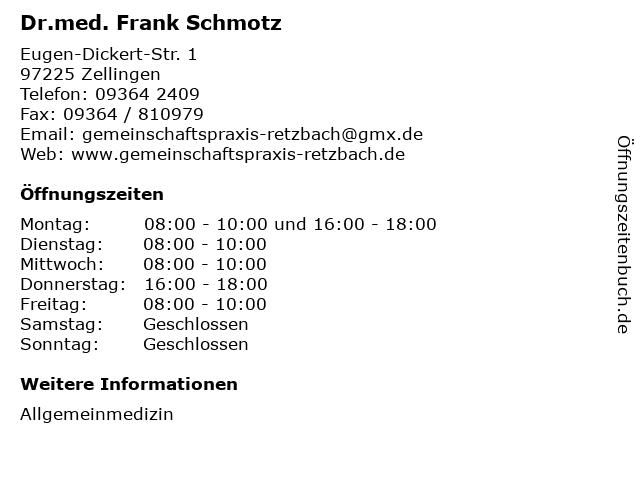 Dr.med. Frank Schmotz in Zellingen: Adresse und Öffnungszeiten