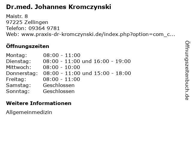 Dr.med. Johannes Kromczynski in Zellingen: Adresse und Öffnungszeiten