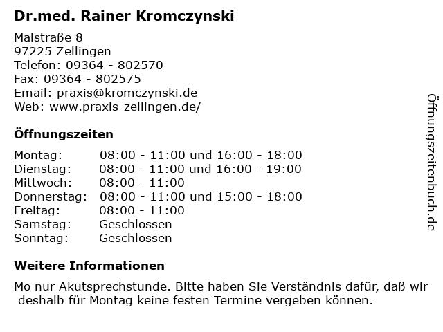 Dr.med. Rainer Kromczynski in Zellingen: Adresse und Öffnungszeiten