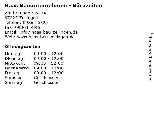 Haas Bauunternehmen - Bürozeiten in Zellingen: Adresse und Öffnungszeiten
