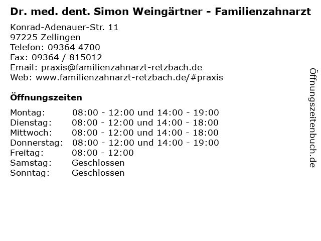 Wolfgang Henke Zahnarzt in Zellingen: Adresse und Öffnungszeiten