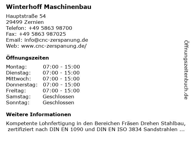 Winterhoff Maschinenbau in Zernien: Adresse und Öffnungszeiten
