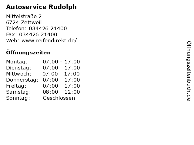 Autoservice Rudolph in Zettweil: Adresse und Öffnungszeiten