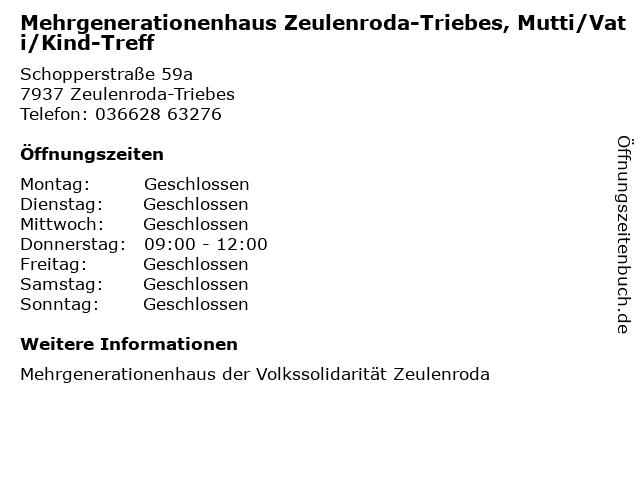 Mehrgenerationenhaus Zeulenroda-Triebes, Mutti/Vati/Kind-Treff in Zeulenroda-Triebes: Adresse und Öffnungszeiten