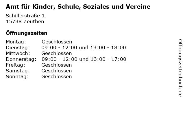 Amt für Kinder, Schule, Soziales und Vereine in Zeuthen: Adresse und Öffnungszeiten