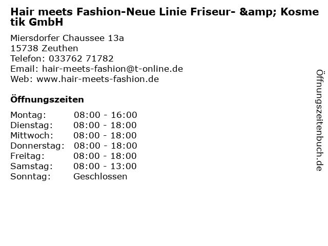 Hair meets Fashion-Neue Linie Friseur- & Kosmetik GmbH in Zeuthen: Adresse und Öffnungszeiten