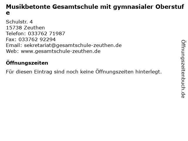 Musikbetonte Gesamtschule mit gymnasialer Oberstufe in Zeuthen: Adresse und Öffnungszeiten
