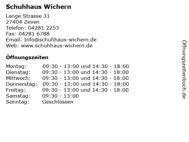 Schuhhaus Wichern in Zeven: Adresse und Öffnungszeiten