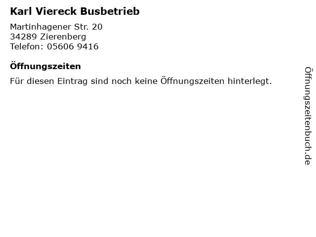 Karl Viereck Busbetrieb in Zierenberg: Adresse und Öffnungszeiten