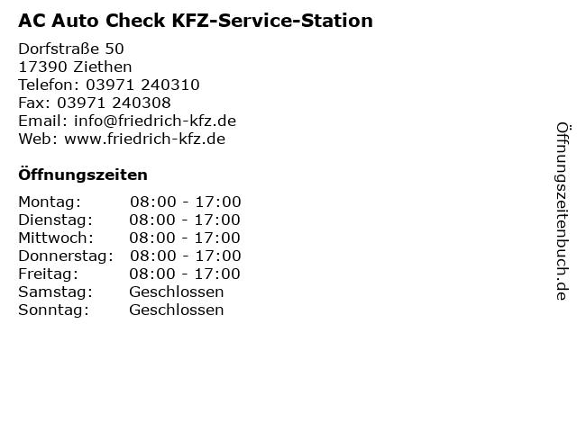 AC Auto Check KFZ-Service-Station in Ziethen: Adresse und Öffnungszeiten