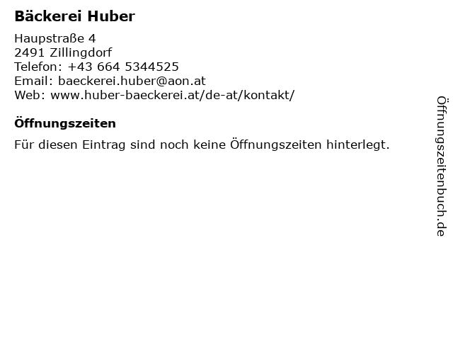 Bäckerei Huber in Zillingdorf: Adresse und Öffnungszeiten