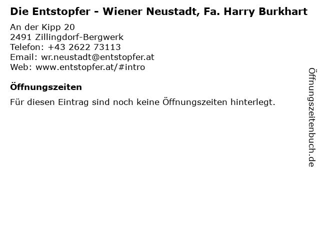 Die Entstopfer - Wiener Neustadt, Fa. Harry Burkhart in Zillingdorf-Bergwerk: Adresse und Öffnungszeiten