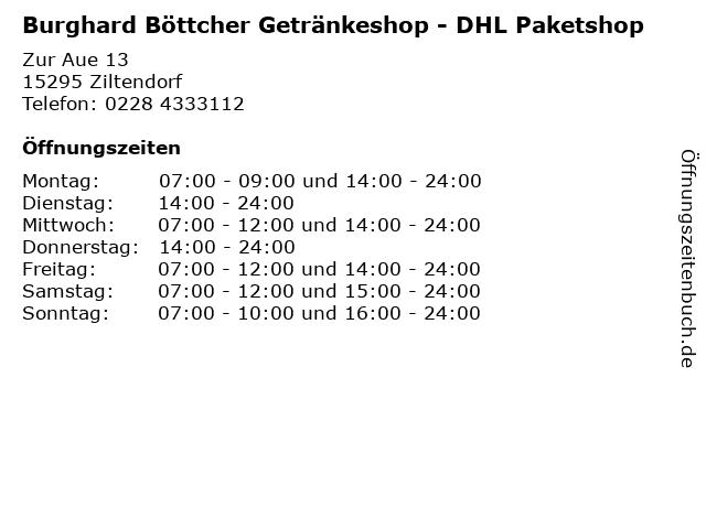 Burghard Böttcher Getränkeshop - DHL Paketshop in Ziltendorf: Adresse und Öffnungszeiten