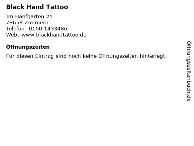Black Hand Tattoo in Zimmern: Adresse und Öffnungszeiten