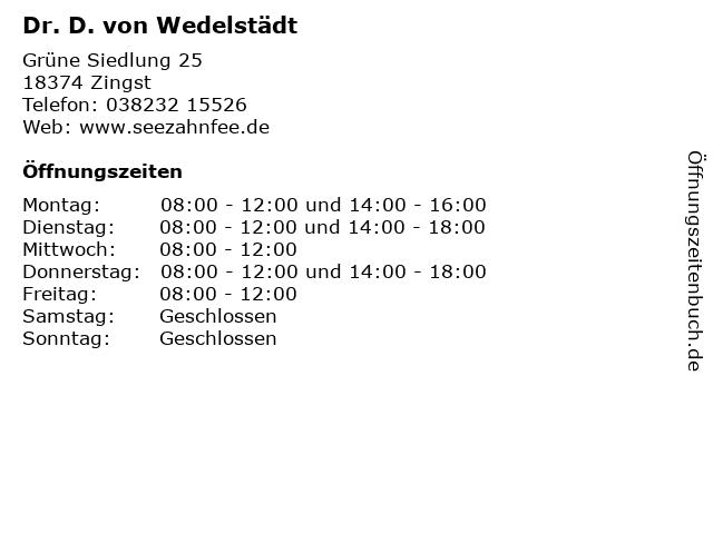 Dr. D. von Wedelstädt in Zingst: Adresse und Öffnungszeiten