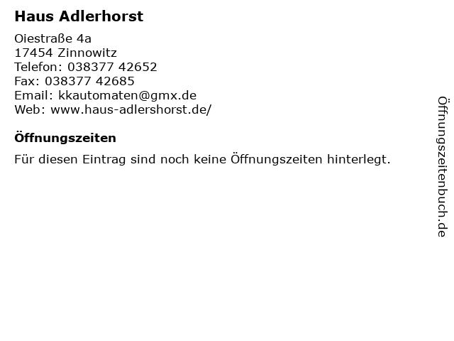 Haus Adlerhorst in Zinnowitz: Adresse und Öffnungszeiten