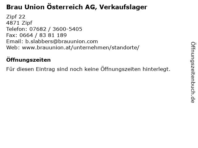 Brau Union Österreich AG, Verkaufslager in Zipf: Adresse und Öffnungszeiten