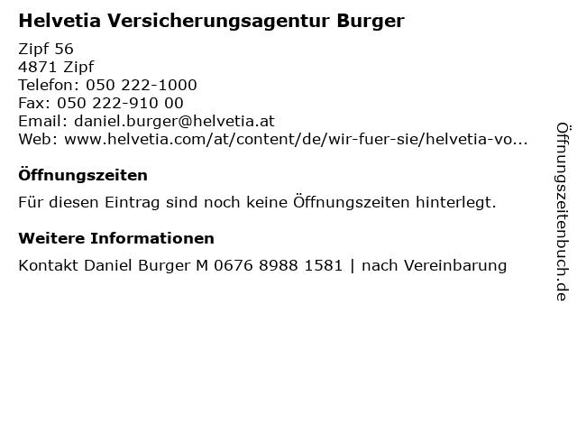 Helvetia Versicherungsagentur Burger in Zipf: Adresse und Öffnungszeiten