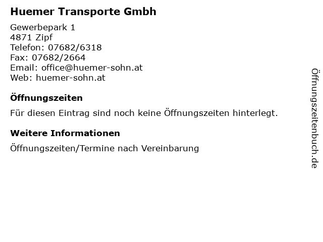 Huemer Transporte Gmbh in Zipf: Adresse und Öffnungszeiten