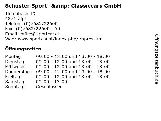 Schuster Sport- & Classiccars GmbH in Zipf: Adresse und Öffnungszeiten