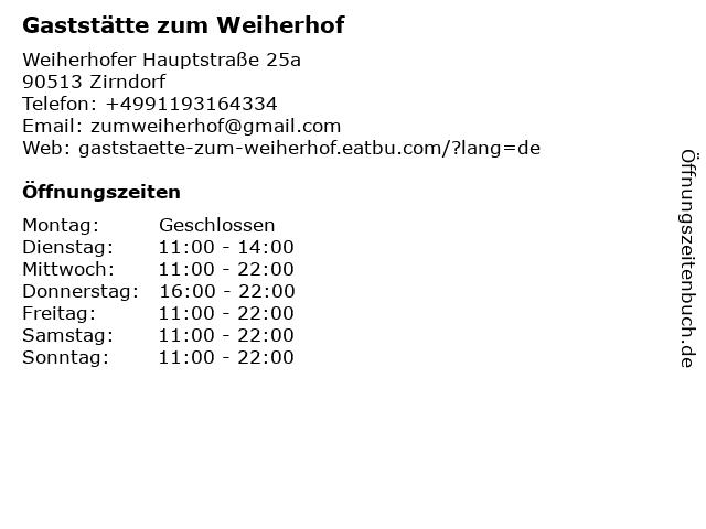 Gaststätte zum Weiherhof in Zirndorf: Adresse und Öffnungszeiten