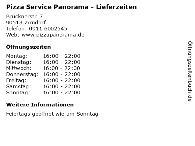 Pizza Service Panorama - Lieferzeiten in Zirndorf: Adresse und Öffnungszeiten