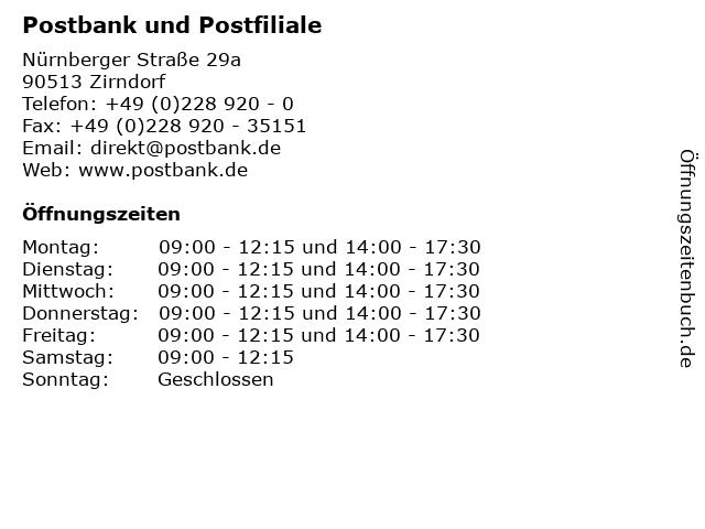 Deutsche Post Postbank Finanzcenter in Zirndorf: Adresse und Öffnungszeiten