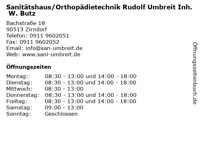 Sanitätshaus/Orthopädietechnik Rudolf Umbreit Inh. W. Butz in Zirndorf: Adresse und Öffnungszeiten