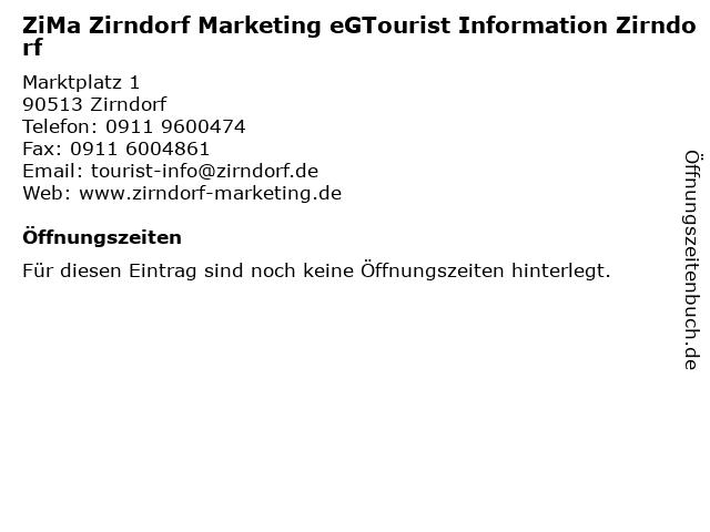ZiMa Zirndorf Marketing eGTourist Information Zirndorf in Zirndorf: Adresse und Öffnungszeiten