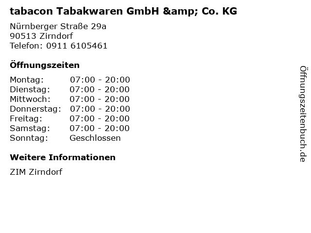 tabacon Tabakwaren GmbH & Co. KG in Zirndorf: Adresse und Öffnungszeiten