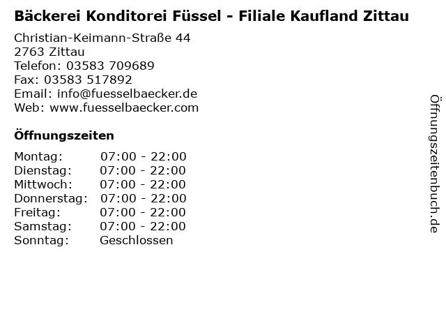 Bäckerei Konditorei Füssel - Filiale Kaufland Zittau in Zittau: Adresse und Öffnungszeiten