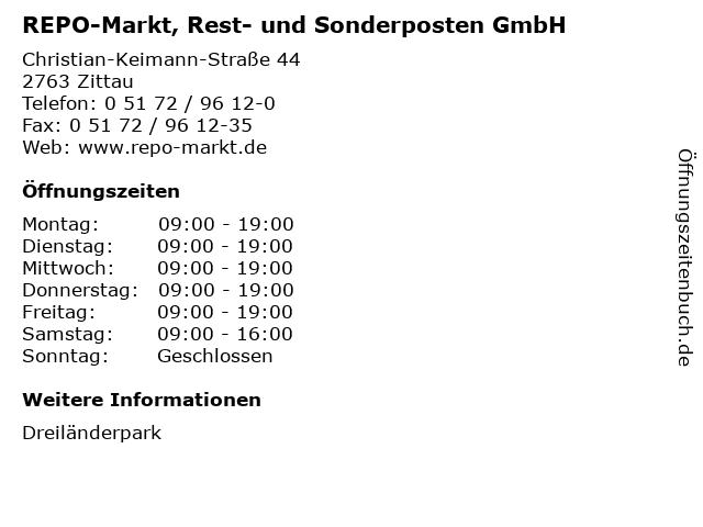REPO-Markt, Rest- und Sonderposten GmbH in Zittau: Adresse und Öffnungszeiten