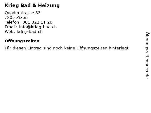 Krieg Bad & Heizung in Zizers: Adresse und Öffnungszeiten