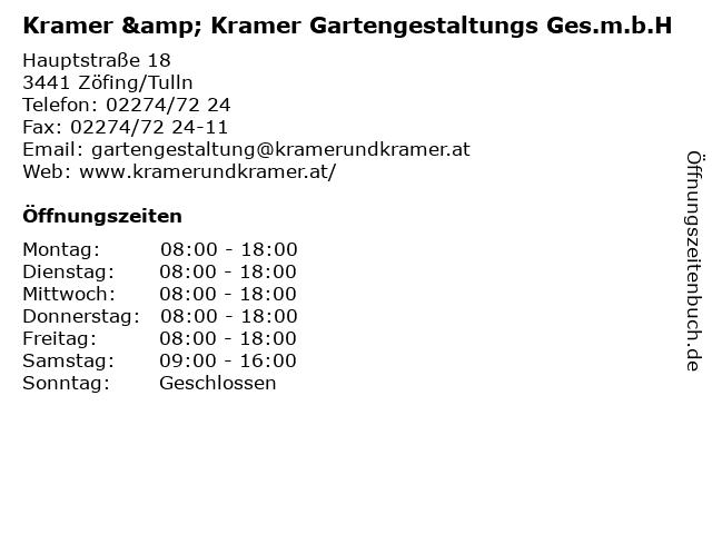 Kramer & Kramer Gartengestaltungs Ges.m.b.H in Zöfing/Tulln: Adresse und Öffnungszeiten