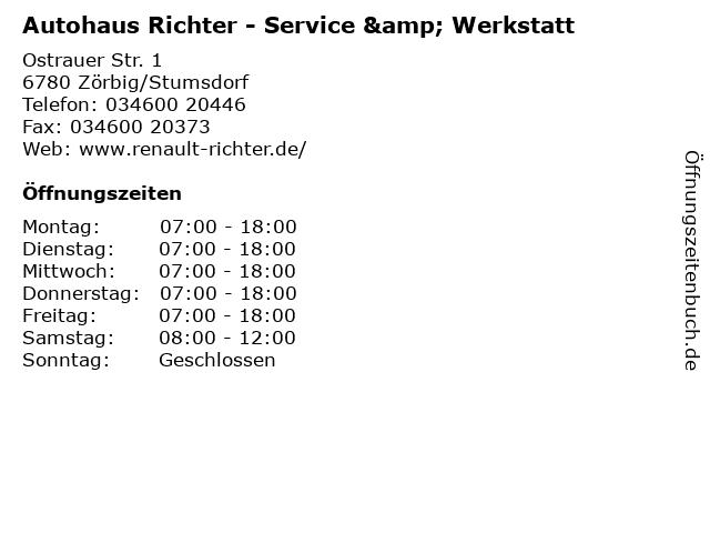 Autohaus Richter - Service & Werkstatt in Zörbig/Stumsdorf: Adresse und Öffnungszeiten