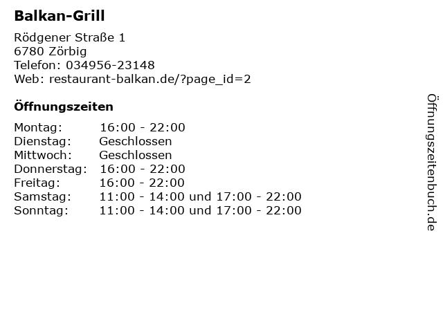 Balkan-Grill in Zörbig: Adresse und Öffnungszeiten
