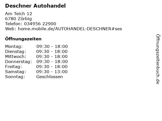 Deschner Autohandel in Zörbig: Adresse und Öffnungszeiten