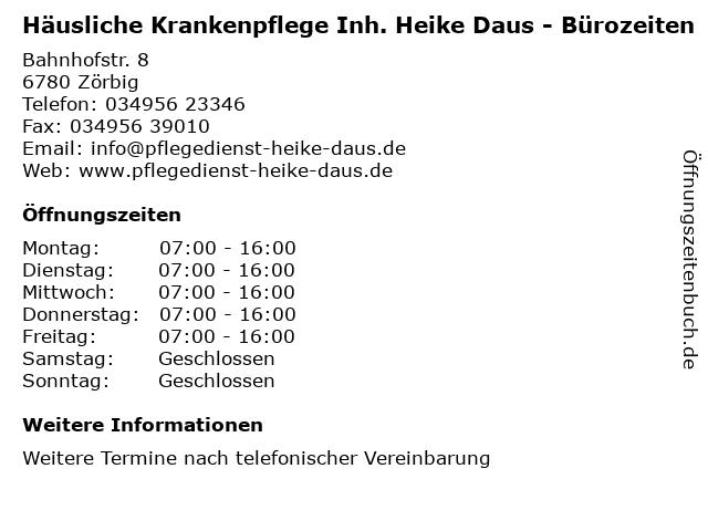 Häusliche Krankenpflege Inh. Heike Daus in Zörbig: Adresse und Öffnungszeiten