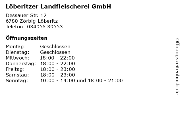 Löberitzer Landfleischerei GmbH in Zörbig-Löberitz: Adresse und Öffnungszeiten