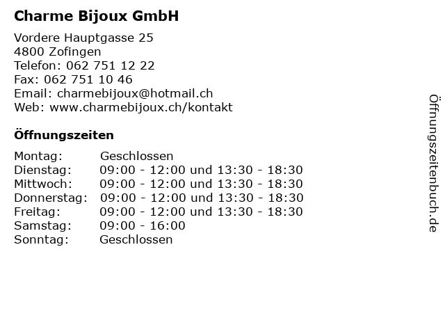 Charme Bijoux GmbH in Zofingen: Adresse und Öffnungszeiten