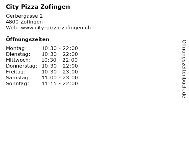 City Pizza Zofingen in Zofingen: Adresse und Öffnungszeiten