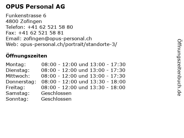 OPUS Personal AG in Zofingen: Adresse und Öffnungszeiten