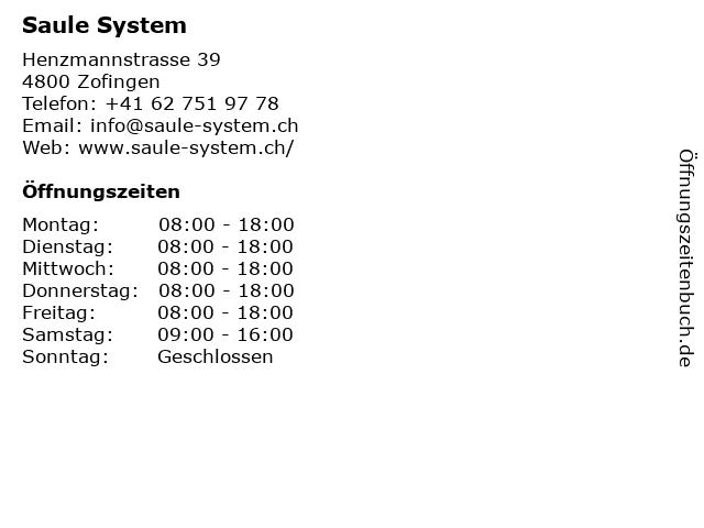 Saule System in Zofingen: Adresse und Öffnungszeiten