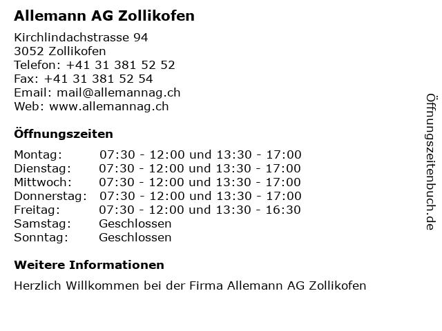 Allemann AG Zollikofen in Zollikofen: Adresse und Öffnungszeiten