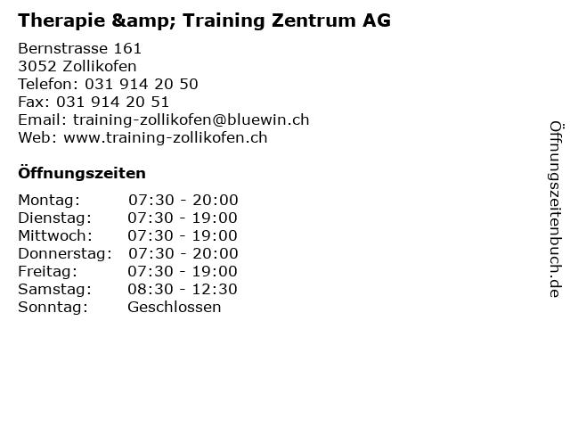 Therapie & Training Zentrum AG Zollikofen in Zollikofen: Adresse und Öffnungszeiten