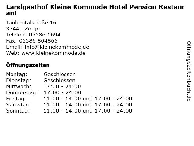 ᐅ Offnungszeiten Landgasthof Kleine Kommode Hotel Pension