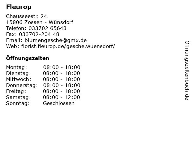 Fleurop in Zossen - Wünsdorf: Adresse und Öffnungszeiten