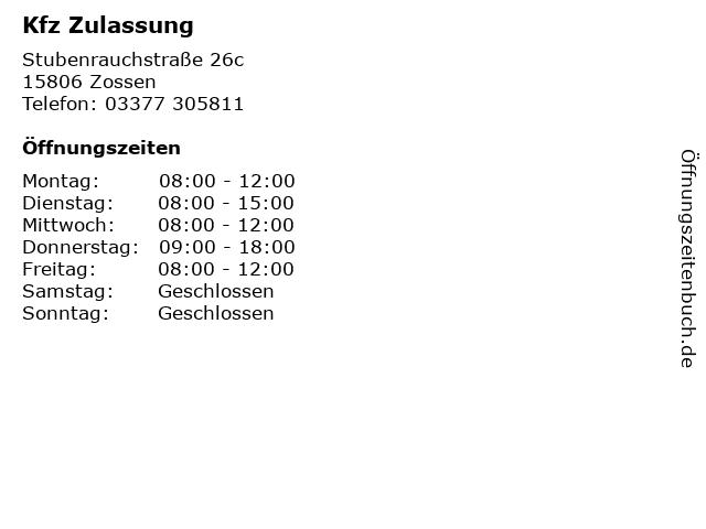 Kfz Zulassung in Zossen: Adresse und Öffnungszeiten