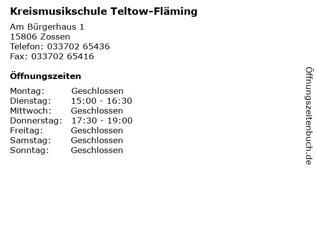 Kreismusikschule Teltow-Fläming in Zossen: Adresse und Öffnungszeiten