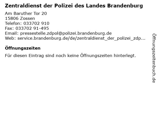 ᐅ öffnungszeiten Zentraldienst Der Polizei Des Landes Brandenburg
